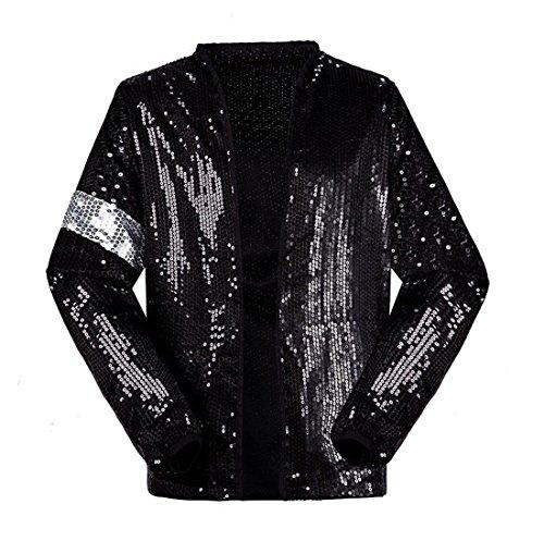 Shuanghao Michael Jackson Kostüm Jacke Hosen für Erwachsene Kind Billie Jean Jacke Tanz Cosplay Schwarz (H:165-175cm W:60-65kg, Erwachsene Jacke)