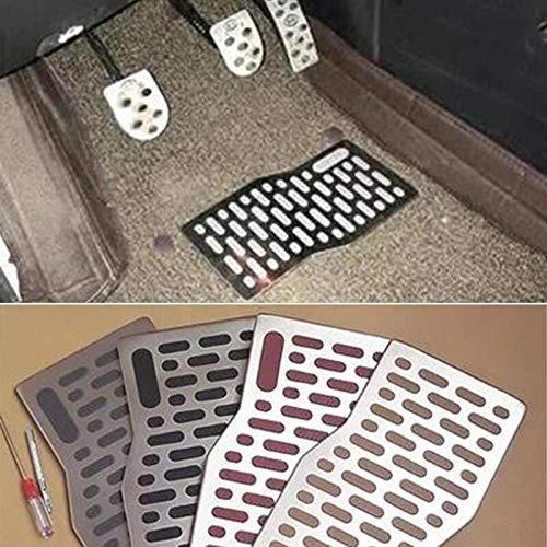 Alfombrilla Para Coche Coche de piso alfombra de la estera del cojín auto de aluminio Placa Pedal Resto Mats Alfombras compatible con Jeep Cherokee Wrangler Grand Cherokee SRT comandante Recortar para