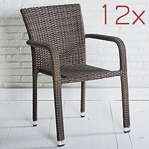 Wholesaler GmbH 12er Set Stapelbarer Armlehnstuhl in grau mit Armlehnen exkl. Auflage für Garten, Terrasse oder Balkon…