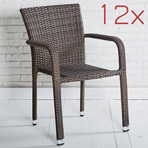 Wholesaler GmbH 12er Set Stapelbarer Armlehnstuhl in grau mit Armlehnen exkl. Auflage für Garten, Terrasse oder Balkon - Gartenmöbel Stühle Terrassenstuhl Balkonstuhl Stuhl Gastro