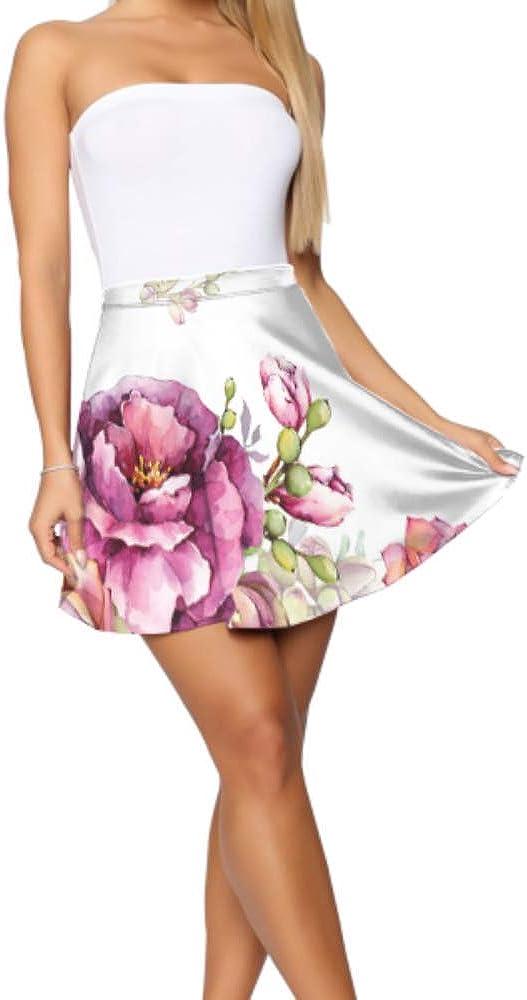 Liaosax Flare Skirt Beautiful Peony Print Flared Casual Mini Skater Skirt Women's Basic Casual Print Skater Skirt S-XL
