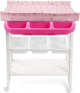 WYNZYYX Diaper Table  Baby Diaper Change Table Organization  Nursing Table Newborn Dressing Table Massage Station Storage Supplies  Color Red