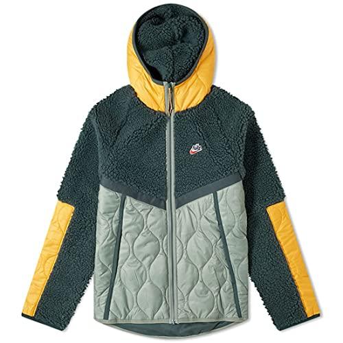 NIKE Sportswear Chaqueta de Hombre con Capucha Chaqueta de Deportes de Invierno Verde y Amarilla XS