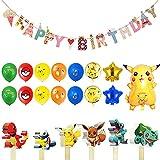 Globo Pokémon Decoraciones, Pokemon Pikachu Globos, Helium Foil Balloons, Globos de Latex, con Happy Birthday Banner, Juego de Suministros para Fiestas de Cumpleaños para Niños, 40 Piezas
