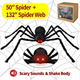 Halloween Decorations Outdoor Spider 4.1ft, with LED Eyes, Spooky Sound + 11ft Rope Spider Web + 70sqft Stretch Spiders Web with Gift Box Halloween Decor Indoor, Outdoor, Party, Bedroom (L-4.1ft)