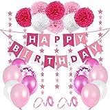 O-Kinee Decorazioni Compleanno Bambina, Set Palloncini Compleanno Rosa, Buon Compleanno Bandierine, Addobbi Compleanno Bambina, Palloncini Rosa con Pompon Rosa per 1 Anno, 2 Anni, 3 Anni
