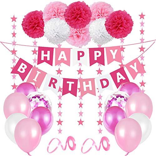 O-Kinee Geburtstags Deko Mädchen, Kindergeburtstag Deko Mädchen, Rosa Geburtstagdeko Dekoration Set, Happy Birthday Wimpelgirlande, 8 Pompoms, 6 Meter Girlande, 24 Luftballons Rosa Weiß, 2 Bänder