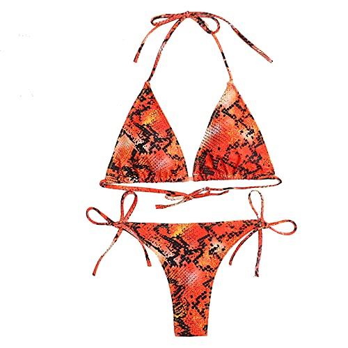 Nuevo Traje De Baño De Tres Piezas Bikini Leopardo Estampado De Serpiente Sexy Bikini Beach Traje De Baño,Orange red,XL