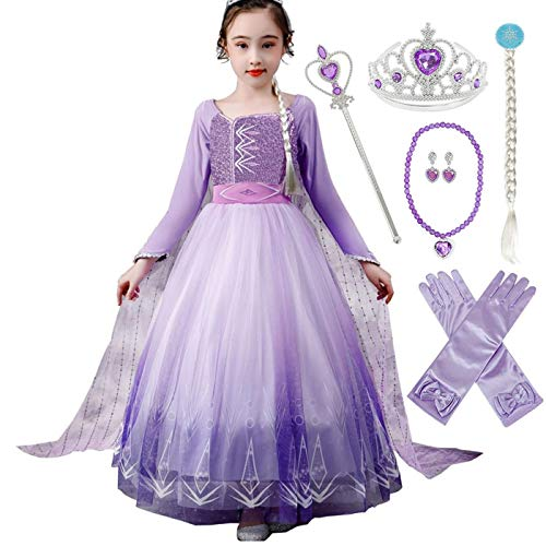 AIYIMEI Nias Vestido de Princesa Elsa Reino del Hielo Disfraz de Carnival Fiesta Manga Larga Cosplay Cumpleao Navidad Halloween Fancy Dress Up Costume 3-12 Aos