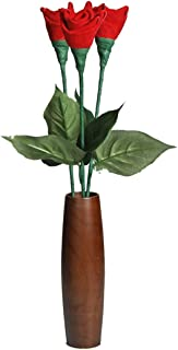 3rd Third Wedding Anniversary gift Leather Roses 3-Stem Bouquet and Teak Vase