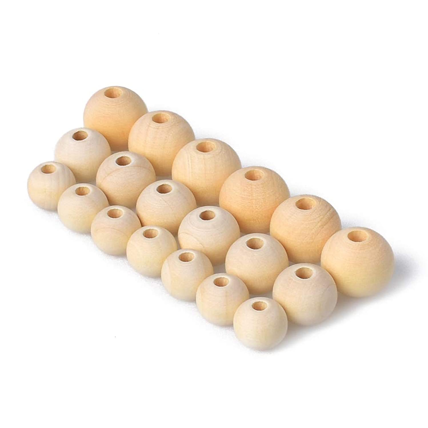 Hagao Unfinished Wood Beads Natural Color Round Ball Wood Spacer Beads DIY Loose Wooden Beads for Jewelry Making (10mm 12mm 14mm 300pcs)