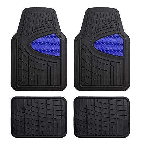 FH Group Blue F11311BLUE Rubber Floor Mat(Heavy Duty Tall Channel, Full Set Trim to Fit)