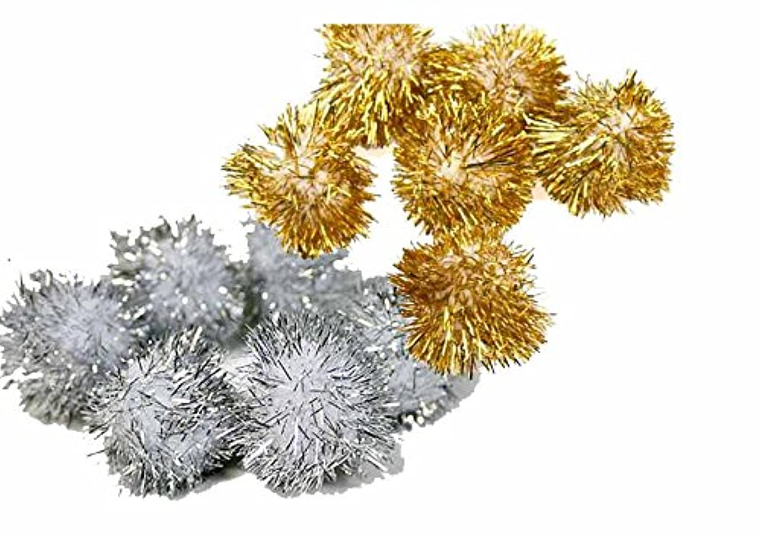 Creation Station Glitter Poms in Assorted Sizes, Gold/Silver