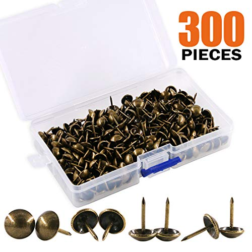 Rustark 300-Pcs 7/16'' [11mm] Antique Upholstery Decorative Tacks Furniture Sofa Thumb Tacks Nails Pins Assortment Kit for Upholstered Furniture Cork Board - Bronze