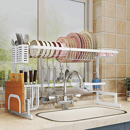 Over Sink(24'-40') Dish Drying Rack, 2 Cutlery Holders Drainer Shelf for Kitchen Supplies Storage Counter Organizer Stainless Steel Display- Kitchen Space Save Must Have (White, 24≤Sink Size≤40inch)