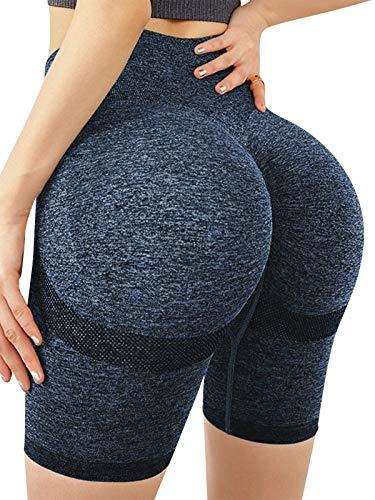 SUNNYME Pantalones cortos deportivos para mujer, pantalones cortos de yoga, cintura alta, leggings para correr