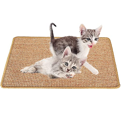 Xnuoyo Alfombrilla para Rascar Gatos, Alfombrilla De Sisal Natural, Alfombrilla Antideslizante para Rascar Gatos, Alfombrilla para Gatos para Moler Garras Y Proteger Muebles (15,7 X 23,6 Pulga