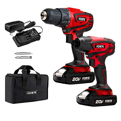 FORTE Cordless Drill Combo Kit - 20V Max Drill Driver and Impact Driver Cordless Power Tool Set with 2Pcs Lithium-Ion Batteries, Charger and Storage Bag included