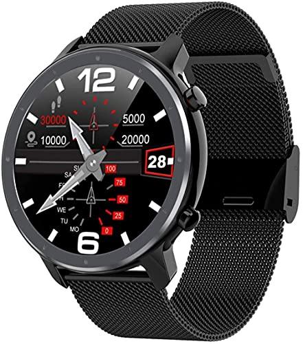 Reloj inteligente Fitness Trackers Hombres s contador de pasos Actividad Tracker Dial redondo Múltiples modos de deporte IP68 impermeable pulsera inteligente-acero negro