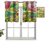 Hiiiman Cortinas opacas con ojales, cortinas cortas, cenefa infantiles, diseño de animales en el bosque, con ilustraciones de flores, juego de 1, 127 x 45 cm, cortinas de cocina para sala de estar
