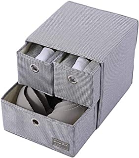 MU Grande boîte de rangement pliable, boîtes de rangement de qualité supérieure pour garde-robe en tissu, diviseurs de tir...