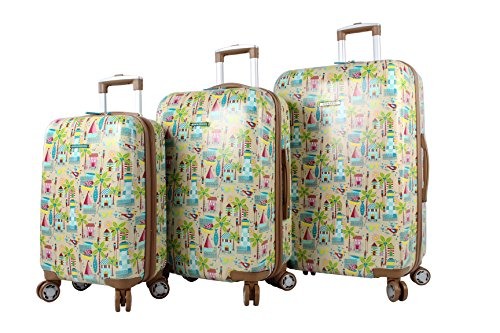 Lily Bloom Hardside Luggage Sets 3 Piece Design Pattern Spinner Suitcase For Woman (Beach House)