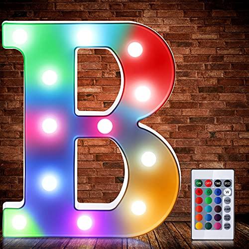 Luces de Símbolo de Número Letra Alfabeto LED Iluminado Colorido con Interruptor...