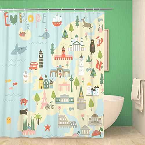 Awowee Decor Duschvorhang, Landkarte von Europa, Sights Tiere, Bäume & Blumen, 180 x 180 cm, Polyester, wasserdicht, Badvorhänge Set mit Haken für Badezimmer