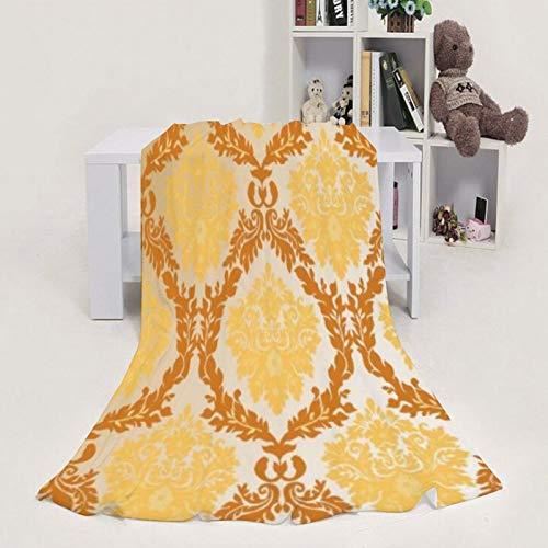 Flanell-Fleece-Decke, warm, gemütlich, weich, Damast, gelb, orange, leicht, Plüsch, Mikrofaser, 76,2 x 101,6 cm