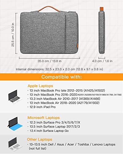Inateck Laptoptasche Hülle Kompatibel mit 13 Zoll MacBook Air/Pro 2020 M1-2012, Surface Pro X/7/6/5/4/12.9 iPad Pro/Surface Laptop/13.5 Surface Book,Thinkpad, MateBook D 14, Notebook 9 Pro, XPS 13