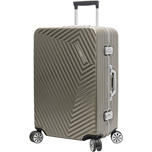 Andiamo Elegante Suitcase with Built-in TSA Lock - Zipperless 28 Inch Hardside Checked Bag- Lightweight (ABS+PC) Luggage With 8-Rolling Spinner Wheels (Black Pearl)