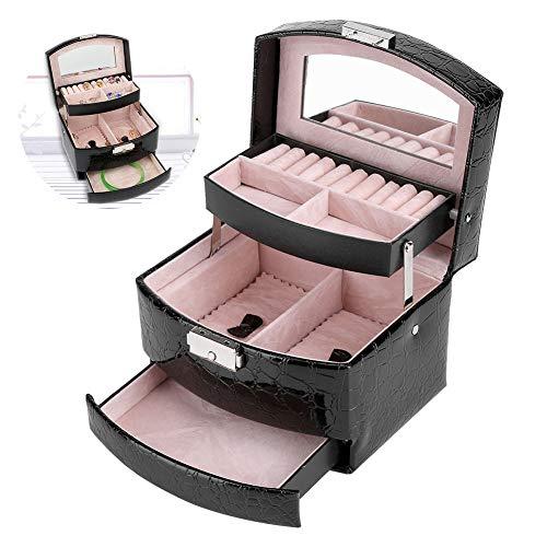 Lockable Jewelry Box, Jewelry Organizer Case 3 Layer Portable Jewelry Display Storage Case Leather Makeup Box for...