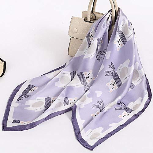 ZAMi Kleiner Schal Mode dünner Schal weiblicher Schal Frühlings- und Herbstschal großer quadratischer Schal-Gummibärchen-Lila