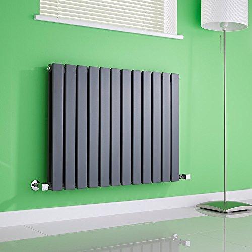 Hudson Reed Radiador de Diseño Moderno Horizontal Delta - Radiador con Acabado Antracita - Paneles Planos - 635 x 840mm - 1146W - Calefacción