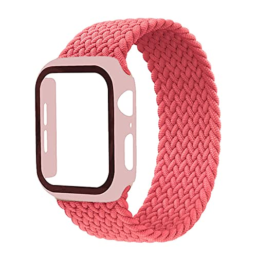 Electronic Strap Accessories Braided Solo Loop Band For Apple Watch Strap 44Mm 40Mm 42Mm 38Mm Elastic Nylon Bracelet+Pc Case Iwatch Series 6 5 4 3 Se