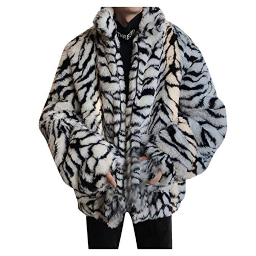 Yowablo Mantel Übermantel Männer Leopard Winter Warme Mode Outdoor Wolle Kunstpelz Kragen (3XL,3Weiß)