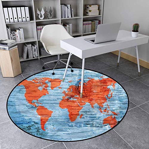 Holiday Polyester Noble Round Area Rug Suitable for Bathroom Kitchen Voyager World Map Lands 5'6' in Diameter