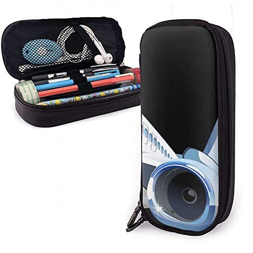 Vliegtuig PU lederen tas opbergtas draagbare student potlood kantoor schrijfwaren tas make-up multifunctionele tas