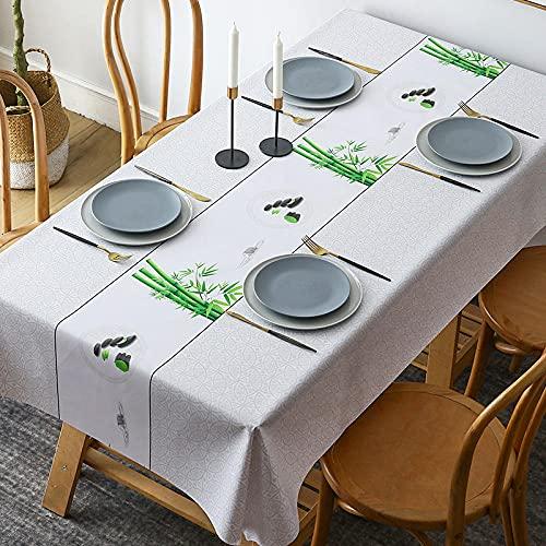 Mantel para Mesa PVC Rectangle, 140x200cmBambú Verde Gris Fácil de Limpiar, Antimanchas Impermeable, Plástico Home Manteles para Bodas Fiesta Buffet Navidad Cumpleaños Restaurante