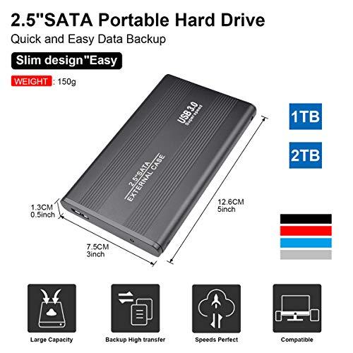 "Disco Duro Externo 2tb Portátil 2.5"", USB3.0 SATA HDD Almacenamiento para PC, Mac, MacBook, Chromebook, Xbox (2tb, Negro) miniatura"