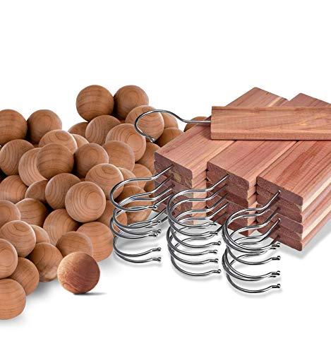 Cedar Home Cedar Blocks for Clothes Storage | Cedar Hang Ups & Cedar Balls | Clothes Protection | 22 Pieces, 12 Cedar Hang Ups & Bonus 10 Cedar Balls | U.S.A Seller