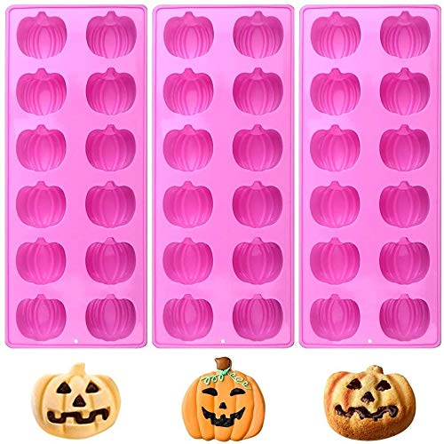 GJWYEYEYE 3D Mini-Kürbis-Silikon-Süßigkeit Moulds Satz von 3, 12 Cavity Halloween Kürbisse Schokoladen-Form-Eiswürfel for die Herstellung der Halloween-Süßigkeiten, Muffins, Schokolade, Kuchen-Dekorat