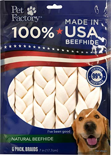 Pet Factory 78701 Beefhide | Dog Chews, 99% Digestive, Rawhides to Keep Dogs Busy While Enjoying, 100% Natural Flavored Braids, Pack of 6 in 7- 8' Size, Made in USA