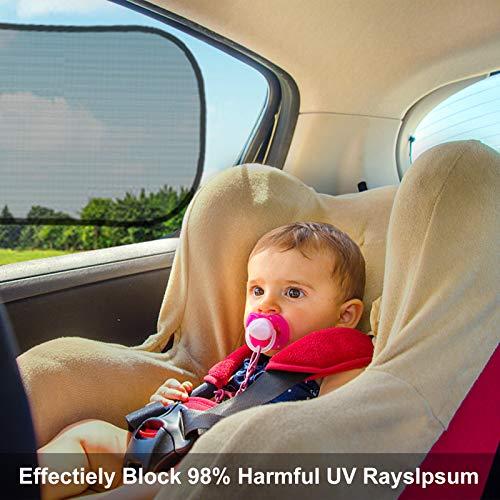 Tendine Parasole Auto Bambini, omitium 4 pezzi Autoadesivo Parasole Auto Finestrini Laterali, Tende da Sole Protezione da Raggi per Auto Parasole Protezione da Raggi UV per Neonati