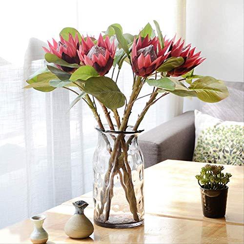 AZYJBF Flor Artificial 3 Piezas Flor Emperador Flor Falsa Ramos de Boda Decoraciones Centros de Mesa Florales para el hogar Cocina Jardín FiestaVino Rojo