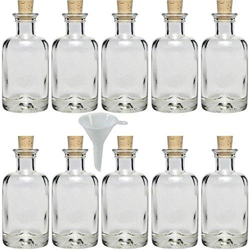 10 x Apothekerflasche 100 ml Glasflasche mit Korken inkl. Trichter