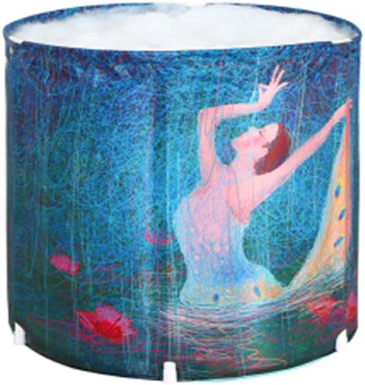 ESPERANZAXU Bathtub Folding PVC Plastic Portable Adult Jacuzzi, Spa SPA Tub (bluee, 70cmx70cm)