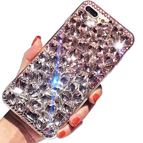 LCHDA Custodia Diamante per iPhone 7/iPhone 8 4.7 Pollice, 3D Bling Ragazze Cristallo Ultra Sottile Trasparente Lucida Strass Pieno Scintillanti Rigida PC Cover Protettiva-Bianco&Rosa