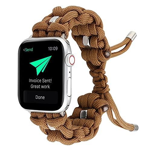 CHENPENG Correa de Nailon elástica Ajustable Compatible con Apple Watch Series 1/2/3/4/5/6 Correa Trenzada para Exteriores Correa Tejida Ligera y Transpirable,Marrón,38mm
