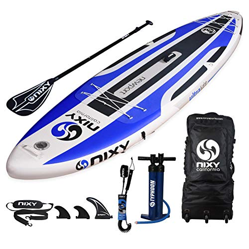 NIXY SUP Inflatable Stand Up Paddle Board Package for All Around Paddle. Ultra Light 10'6' Board Built with Advanced Fusion Laminated Dropstitch Technology and 2 YR Warranty (Blue)